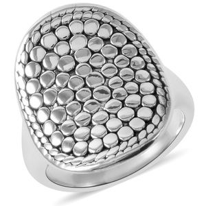 Sterling silver cobble stone statement ring size 6